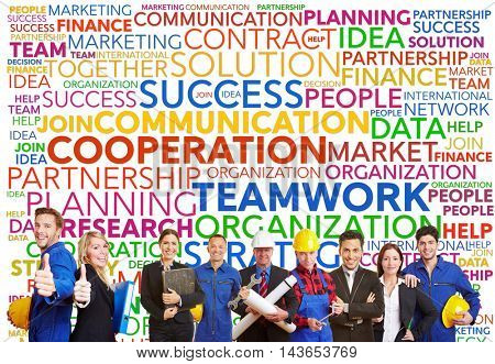 Teamwork tag cloud with different workers and engineers