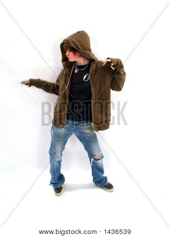 Teen Boy With Mp3 Player And Dancing