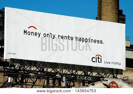 New York City - April16 2005: Citibank advertising billboard in Chelsea