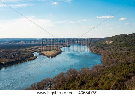 landscape of the Dniester River in early spring