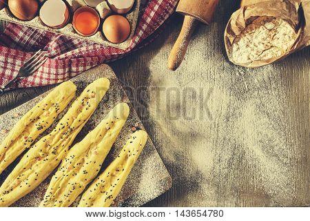 Vintage Filtered Bread Sticks Ready For Baking.