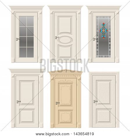 Set of six classic vintage doors in Victorian and Baroque style with stained glass, ornaments. Color doors in a light beige wood.