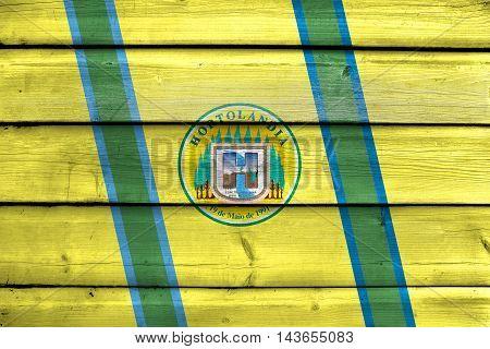 Flag Of Hortolandia, Sao Paulo, Brazil, Painted On Old Wood Plank Background