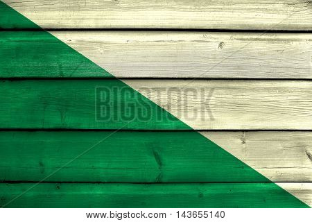 Flag Of Huanuco, Peru, Painted On Old Wood Plank Background