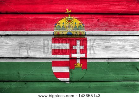 Flag Of Hungary With Coat Of Arms, Painted On Old Wood Plank Background