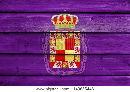 Flag Of Jaen, Spain, Painted On Old Wood Plank Background