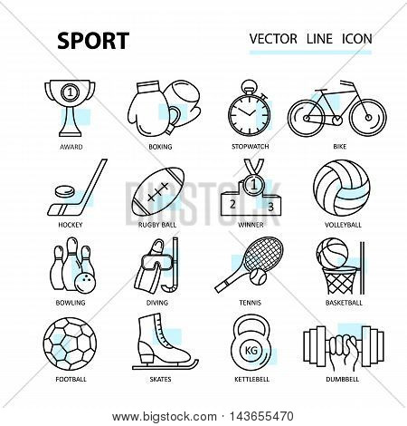 Set modern thin line web icons on sports themes. Premium quality vector logos.