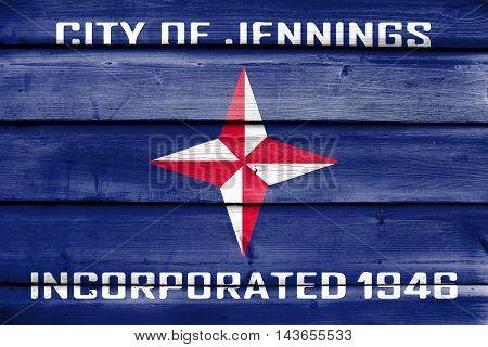 Flag Of Jennings, Missouri, Usa, Painted On Old Wood Plank Background