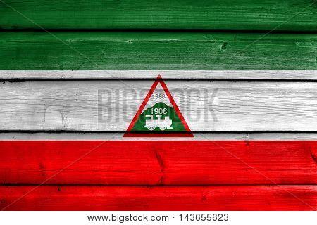 Flag Of Joao Neiva, Brazil, Painted On Old Wood Plank Background