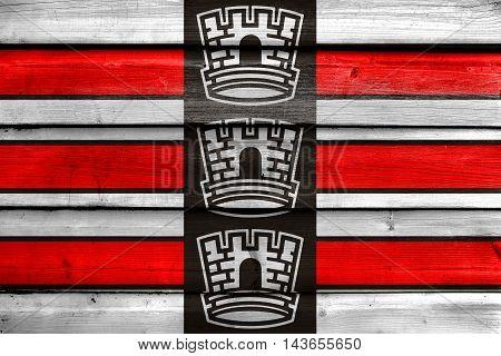 Flag Of Joao Pessoa, Paraiba, Brazil, Painted On Old Wood Plank Background