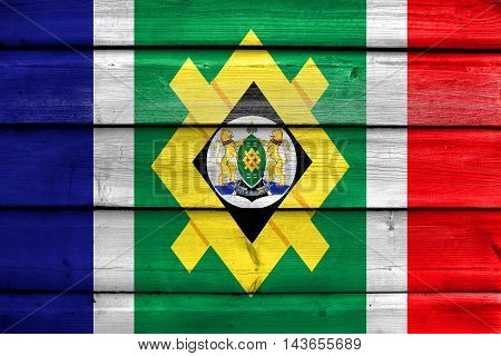 Flag Of Johannesburg, South Africa, Painted On Old Wood Plank Background