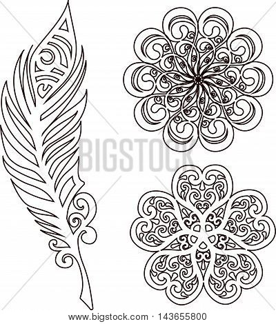Drawing of a three decorative line art elements in indian mehendi style - flowers and feather