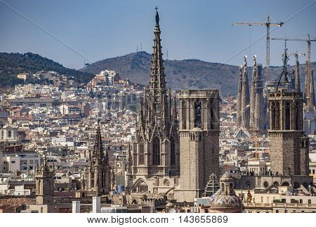 BARCELONA SPAIN - JULY 4 2016: Aerial view of Barcelona from Christopher Columbus monument.