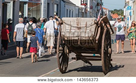 Old Horse Trailer On Display In The City