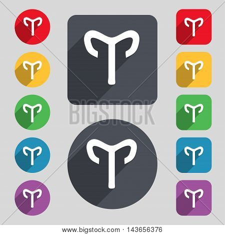 Decorative Zodiac Aries Icon Sign. A Set Of 12 Colored Buttons And A Long Shadow. Flat Design. Vecto