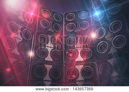 Disco Speakers Background. Large Event Speakers and Disco Lights Background. 3D Render Illustration.