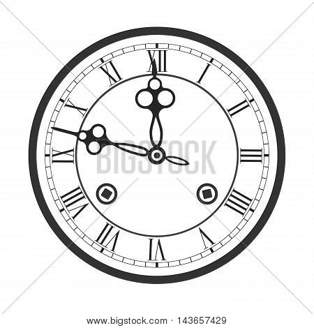 Clock face with roman numerals of clock with chimes