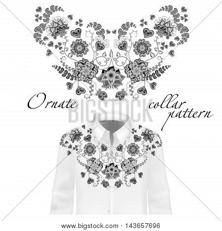 Floral pattern on collar, neck print. Collar patter on shirt mockup. Abstract hand drawing flowers ornament. Vector illustration