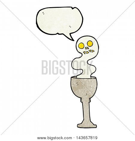 freehand speech bubble textured cartoon spooky halloween goblet