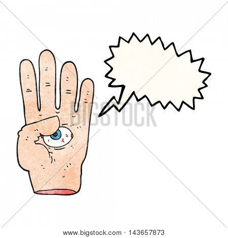 freehand speech bubble textured cartoon spooky hand with eyeball