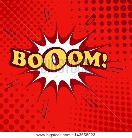 Boom comic cartoon. Pop-art style. Vector illustration with blot, sound effects and halftone background in red colors. Template for web and mobile applications