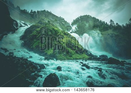 Scenic Latefossen Waterfalls in South Western Norway. Municipality of Odda in Hordaland County Norway Europe.