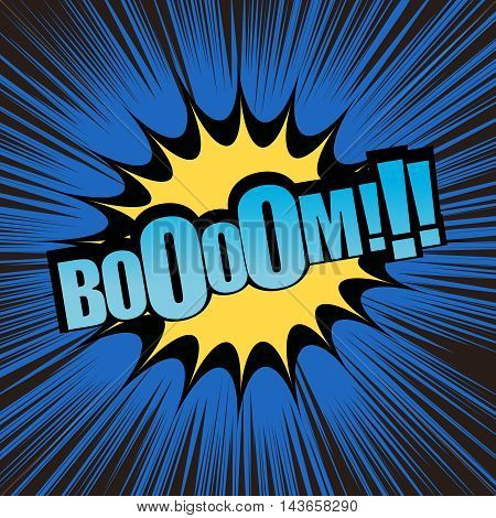Boom comic text. Pop-art style. Vector illustration with yellow blot, blue background and black rays. Explosion cartoon. Template for web and mobile applications