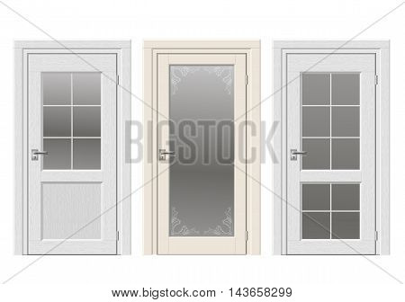 Set of classic vintage doors with stained glass, ornaments. Color doors in a light beige and white wood.