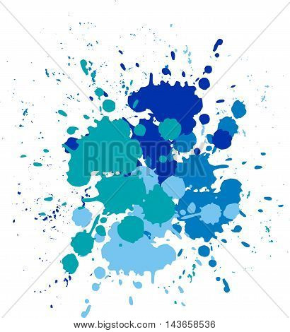 Vector blots blue background. Blobs and splashes of paint.