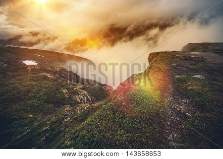 Norway Mountains in Clouds. Foggy Mountain Scenery. Norway Europe.
