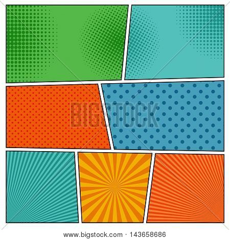 Comic book backgrounds in different colors with radial spiral, dotted and halftone effects. Pop-art style blank template