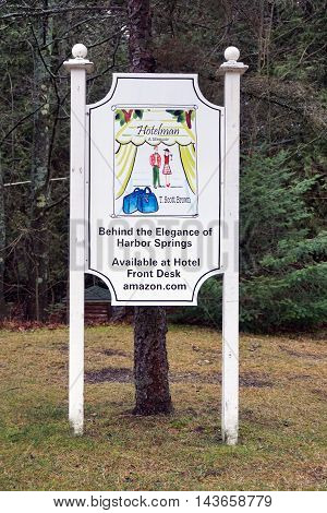 WEQUETONSING, MICHIGAN / UNITED STATES - DECEMBER 22, 2015: A sign advertises the availability of