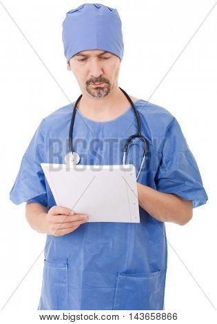 worried doctor looking to his notes, isolated over white background