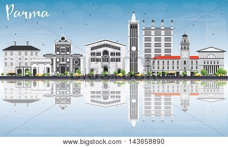 Parma Skyline with Gray Buildings, Blue Sky and Reflections. Vector Illustration. Business Travel and Tourism Concept with Historic Buildings. Image for Presentation Banner Placard and Web Site.