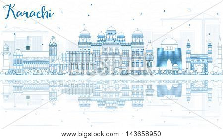 Outline Karachi Skyline with Blue Landmarks and Reflections. Vector Illustration. Business Travel and Tourism Concept with Historic Buildings. Image for Presentation Banner Placard and Web Site.