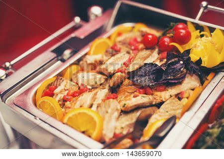 Luxury food on wedding table in hotel or restaurant