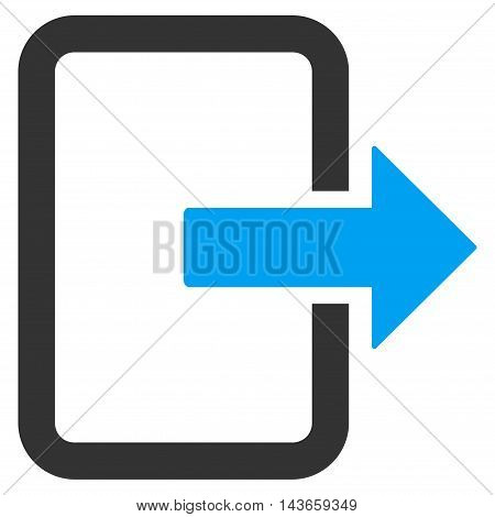 Exit Door icon. Vector style is bicolor flat iconic symbol with rounded angles, blue and gray colors, white background.