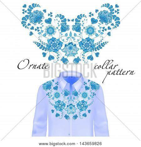Floral curl neck embroidery for blouses. Vector, illustration. Decoration for clothes. Front collar design. Blue on shirt mockup.