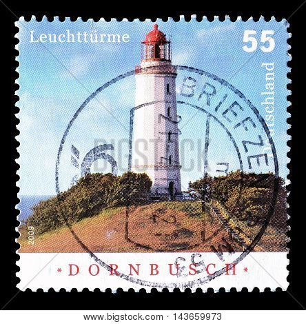 GERMANY - CIRCA 2009 : Cancelled postage stamp printed by Germany, that shows lighthouse Dornbusch.