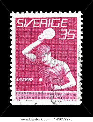 SWEDEN - CIRCA 1967 : Cancelled postage stamp printed by Sweden, that shows table tennis.