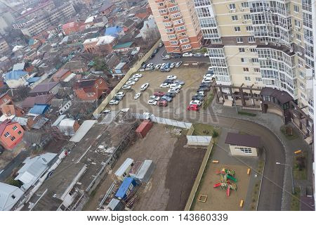 KRASNODAR, RUSSIA - FEBRUARY 13, 2016 : top View of the city of Krasnodar . Krasnodar a major regional city in the South of Russia