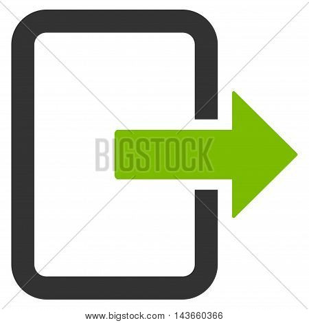 Exit Door icon. Vector style is bicolor flat iconic symbol with rounded angles, eco green and gray colors, white background.