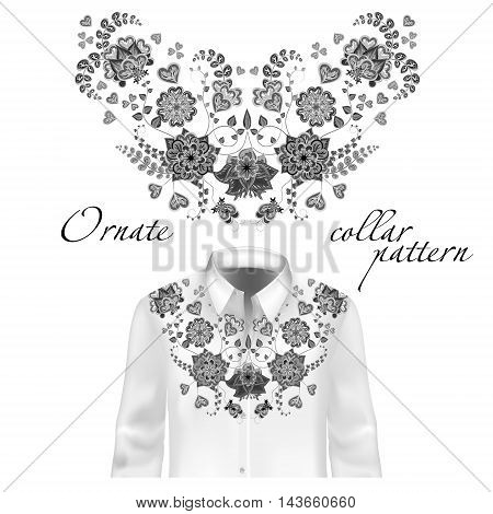 Floral curl neck embroidery for blouses. Vector, illustration. Decoration for clothes. Front collar design. Gray on white shirt mockup.