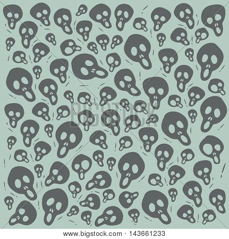 Cartoon Scream Skulls on green Background Seamless Pattern. Editable pattern in swatches. Textile