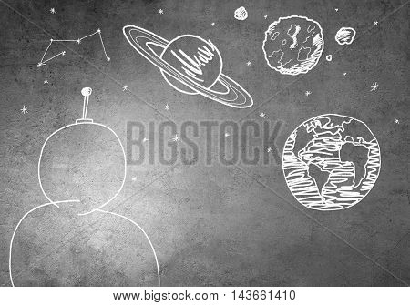 Empty astronaut suit drawn on concrete background