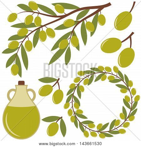 Vector olives set with olive oil branch and wreath