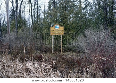 WEQUETONSING, MICHIGAN / UNITED STATES - DECEMBER 22, 2015: The West Wequetonsing Nature Preserve was established by the Little Traverse Conservancy in 1973.