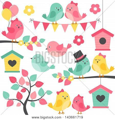Vector summer birds with tree branches and birdhouse