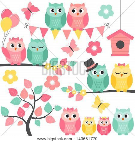 Vector summer set with owls birdhouses branches and flowers
