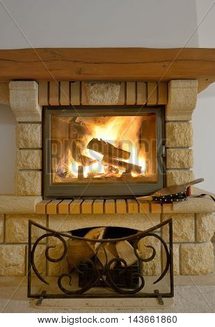 Rustic Fireplace and warm atmosphere, close up